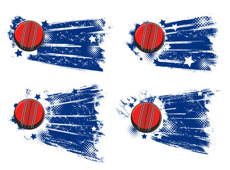 Cricket ball banners, sport tournament and championship vector halftone backgrounds. Cricket ball flying and hitting goal with stars and paint splash, club and team league emblems, blue badges