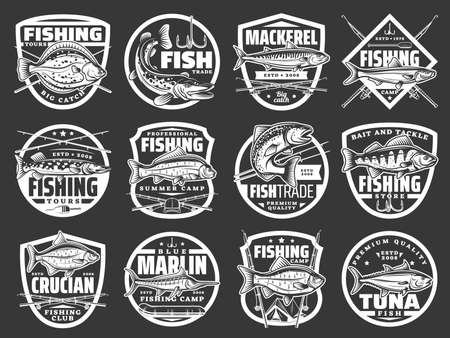 Fishing vector icons with fishes sea flounder, pike, mackerel and sprat, carp, salmon with perch with crucian, marlin and tuna. Fisherman big catch, fishing rods or spinning with bait vintage labels Vecteurs