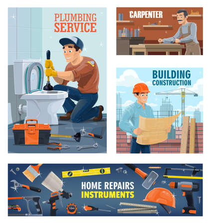 Plumber, construction workers and home repair tools banner. Plumber with plunger unclog toilet, carpenter in workshop and building engineer or architect with drawings, construction equipment poster