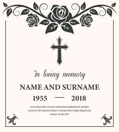 Funeral card vector template, condolence flower ornament with cross, name, birth and death dates. Obituary memorial, gravestone engraving with fleur de lis symbols in corners, vintage funeral card