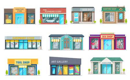 Store, shop and art gallery buildings with vector storefront windows, glass front doors and awnings. Isolated objects of retail business property and commercial real estate, hunting and plumbing store