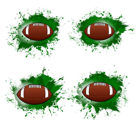 Rugby banners, American football ball halftone backgrounds, vector. American football or rugby ball hitting goal with green pain splash, club and team league emblems