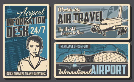 Airport information desk, airplane retro posters. Vector air traffic service operator with headset, airport building and plane or airplane of international airlines. Aircraft staff work, aviation