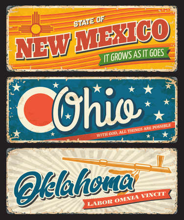 Ohio, Oklahoma and New Mexico USA state rusty metal banners. Vector American travel and tourism old signboards with stars, eagle feathers, ceremonial pipe and red sun symbol