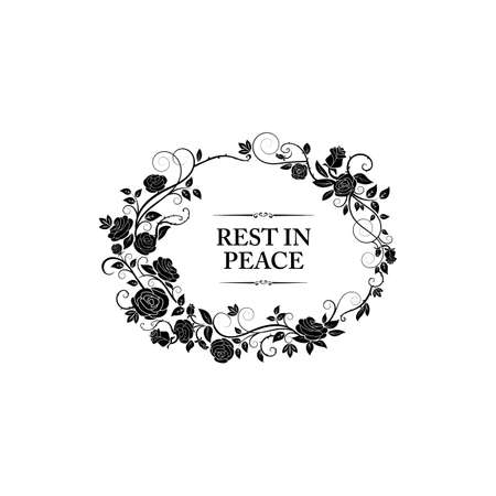 Funeral frame and obituary card floral border, vector memorial and mourning condolences. Funeral floral frame of black flowers, RIP rest in peace loving memory remembrance Vektoros illusztráció