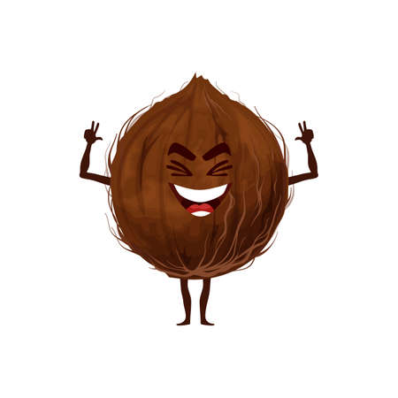 Whole coconut fruit in hard shell isolated funny emoticon flat cartoon character. Vector exotic food hero, smiling coconut with arms and legs. Tropical palm tree nut, oil and milk ingredient