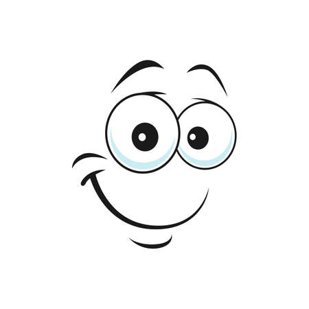Happy smiley with laughing mouth, emoticon emoji print isolated thin line person chatbot in good mood. Vector emoticon in good mood, happy smiley emoji. Laughing head, kind person expression