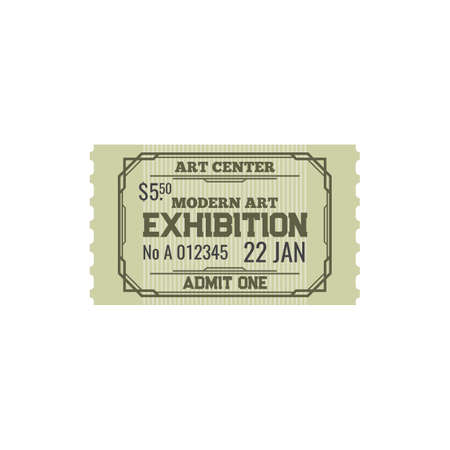 Ticket to modern art center, numbered paper card to exhibition or fair trade of paintings voucher. Admission to visit cultural event, admit on performance in museum. Raffle coupon on excursion