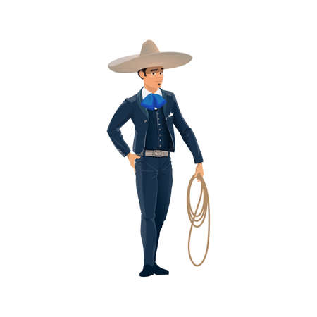 Mexican cowboy charro in sombrero hat and horseman costume isolated man in hat, lasso in hand, cartoon character. Male in national clothes of Mexico, blue suit and scarf, young brazilian guy Ilustración de vector