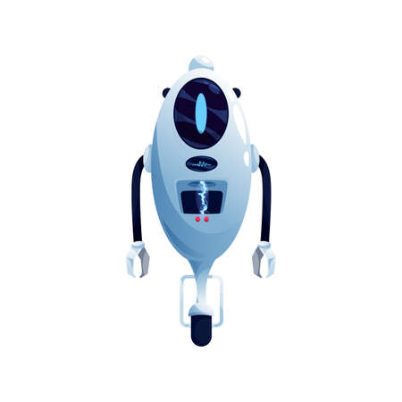 Single wheel robot modern kids toy isolated humanoid robotic automation. Vector bot, single wheeled artificial intelligence electronic cyborg drone with grabs. Futuristic cyborg digital character