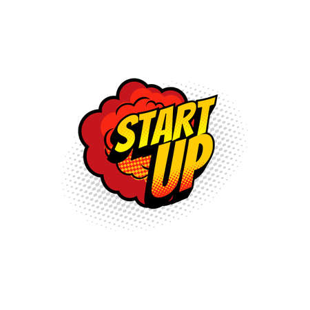 Retro start up comic burst explosion halftone pop art bubble isolated. Vector boom bang vintage label, space startup launch, game started, innovations in business. Beginning project new idea Vector Illustratie