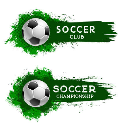 Soccer club football ball, sport championship cup, team world tournament, vector banner. Soccer or football match and fan club emblem on green halftone paint splash background, t-shirt badge