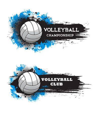 Volleyball championship and sport game club banners with ball, paint or ink brushstrokes, stains and half tone texture vector. Volleyball team tournament, sport competition grungy icons