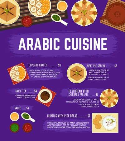 Arabic cuisine menu. Vector meat pie sfeeha, hummus with pita bread, flatbread with chickpea falafels, cupcake knafen, sauce, and hot drink anise tea. Arabian food menu with oriental ornament