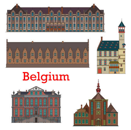 Belgium landmarks and architecture, Belgian Liege palaces, cathedrals and churches, vector. Belgium travel landmark buildings of Groot Vleeshuis or Great Butchers Hall, Stadhuis and Toreken tower