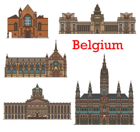 Belgium landmarks, Brussels architecture buildings of churches and cathedrals. Bruxelles city hall, Justitiepaleis Palace of Justice, Saint Jacques church at Coudenberg and Blessed Lady Sablon Church