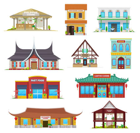 National cuisine restaurant buildings vector icons. Philippine, portuguese and indonesian, german, kebab and fast food, canton, vietnamese or malaysian traditional architecture, national cafe houses