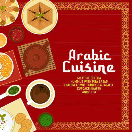 Arabic cuisine vector meat pie sfeeha, hummus with pita bread, flatbread with chickpea falafels, cupcake knafen, sauce, and hot drink anise tea. Arabian food cartoon poster with oriental ornament