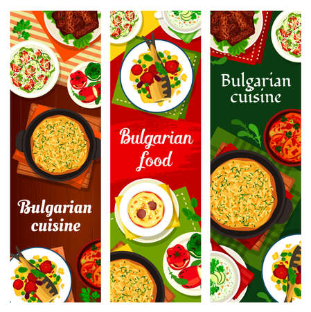 Bulgarian food cuisine menu dishes, meals banners, vector Bulgaria restaurant meat and salads. Bulgarian traditional cuisine food baked fish in tomato sauce, cheese stuffed peppers and potato pie