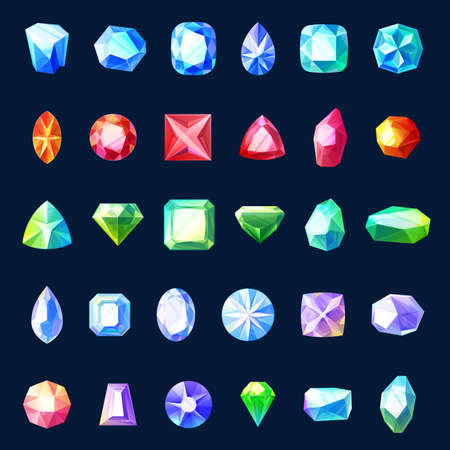 Gem and jewel vector icons of cartoon game ui or user interface design. Gemstones, precious stones and crystals, isolated diamonds or brilliants, emerald, ruby and sapphire, amethyst and aquamarine