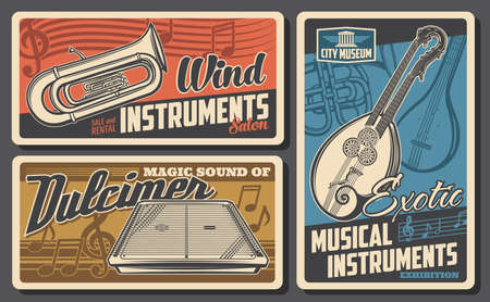 Musical instruments museum and salon retro posters. Twin neck guitar or mandolin, french horn and euphonium, dulcimer engraved vector. Exotic music instruments collection exhibition vintage banners