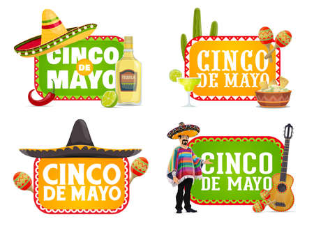Cinco de Mayo Mexican holiday isolated icons with vector fiesta party sombrero hats, maracas and guitar, red chilli peppers, tequila and guacamole, mariachi musician, cactus and jalapeno