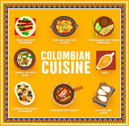 Colombian cuisine vector fried bananas with tomato onion sauce, pork bean stew frijoles. Seafood stew cazuella de mariscos, fried pork belly chicharron, corn cake soup sopa de arepa food of Colombia