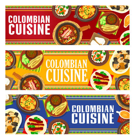 Colombian cuisine vector fried bananas with tomato onion sauce, milk cake tres leches. Fried pork belly chicharron, corn cake soup sopa de arepa. Coconut rice with salad, pork bean stew Colombia meals