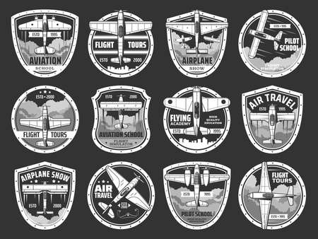 Aviation school and air tours icons set. Professional pilots academy, and airplane travels emblem or badges. Vintage aircraft, retro propeller biplane and monoplane flying in sky vector