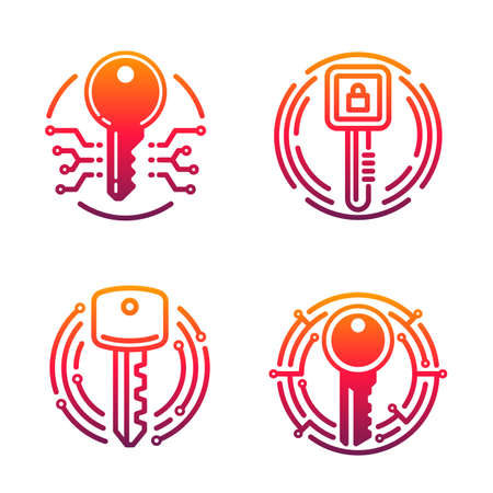 Cybersecurity vector icons with isolated locks and keys. Lineart padlocks and secure access digital keys with computer circuit board pattern, encryption, ddos attack, malware and hacking protection