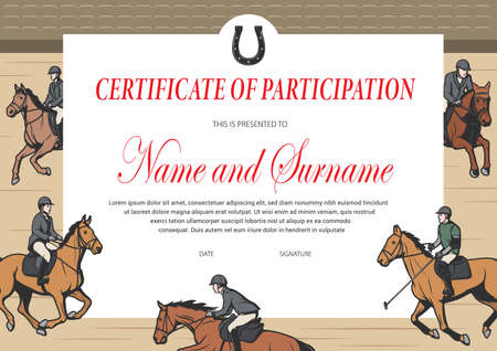 Certificate of participation in horse race, winner diploma vector template. Stallion racing award border design with horse riders on hippodrome. Victory celebration diploma or best result achievement