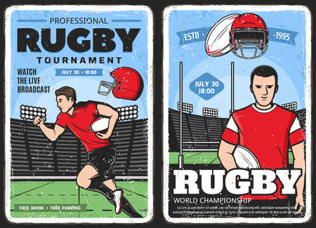Rugby tournament, American football sport posters, vector vintage. Rugby football league, varsity and college team championship, live broadcast, rugby player captain of half-back with ball