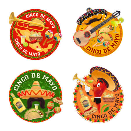 Mexican food cafe or restaurant round icons. Taco, burrito and nachos, tequila, sombrero and guitar, trumpet, maraca vector. Mexican cuisine emblems with meals, alcohol drinks and musical instruments