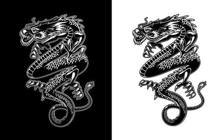 Chinese dragon vector tattoo or Asian Lunar New Year symbol. Flying or dancing dragon paper cut design, black and white oriental zodiac animal or Chinese astrology horoscope mythology monster