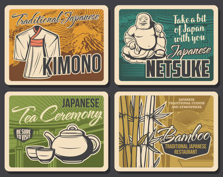 Japan culture and traditions retro banners. Hotei smiling Buddha netsuke figure, traditional japanese kimono, teapot and cups for tea ceremony, bamboo stalks vector. Japan tourist attractions posters Ilustração