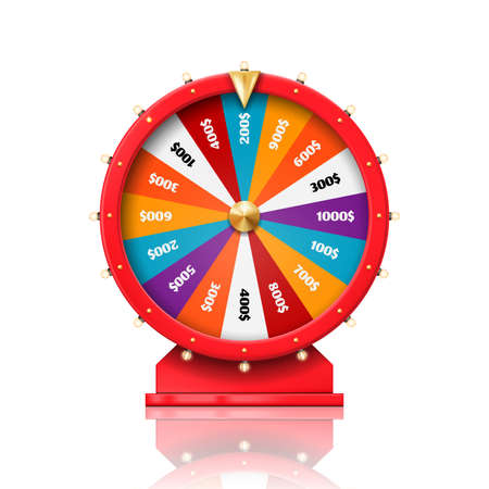 Wheel of fortune, lucky win spin game and casino roulette, vector. Fortune wheel with arrow for dollar money prize, poker luck or lottery jackpot equipment, gambling game and casino bets chance drum