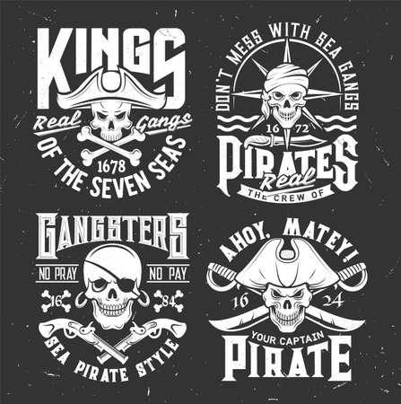 Tshirt prints with pirate skulls in cocked hat, bandana and crossed sabers, bones or guns. Vector mascot for apparel. T shirt print design with typography. Caribbean Jolly roger isolated emblems set