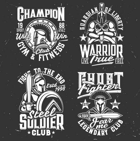 Gladiator warriors with sword tshirt print, vector mascots for fighter or fitness club Apparel design. Roman or greek knights in helmet with plumage, shield or cape. T shirt prints with typography set Ilustração