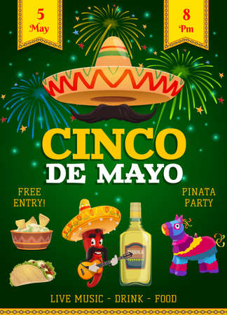 Cinco de Mayo festive flyer, mexican holiday invitation. Fiesta party traditional food and drink, sombrero, chili and jalapeno pepper playing guitar. Tequila, pinata and flags for Cinco de Mayo event