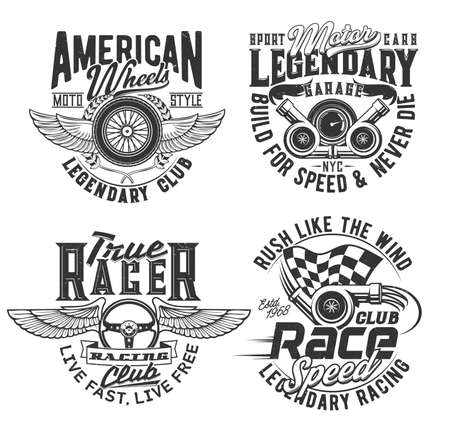 Races club t-shirt prints, speed wheel and wings, vector icons. Motorcycle races, bikers club, motorbike riders and speedway rally sport, American legendary garage engine sign for t shirt prints