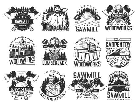 Lumberjack, sawmill lumbering service and logging wood vector icons. Lumber and forestry industry, logger woodwork bearded skull in hat. Woodcutter ax, saw and logging machine, tree logs and stumps