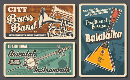 Folk music instrument and musical note vector banners of live concert and ethnic festival invitation. Russian balalaika, Japanese shamisen and French horn, note stave and treble clef retro design