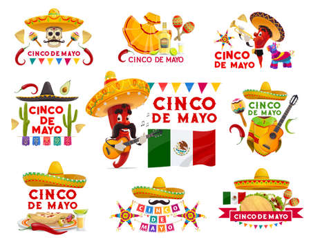 Cinco de Mayo vector icons pinata, jalapeno pepper mustached musician in sombrero playing guitar. Maracas, tequila with lime, flag. Mexican food tacos, enchiladas isolated emblems with typography set