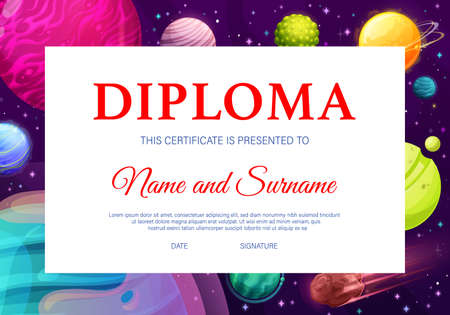 School kids diploma, kindergarten certificate with cartoon fantasy planets in dark sky with stars and meteors. Education diploma with alien planets, cosmic galaxy world award frame template