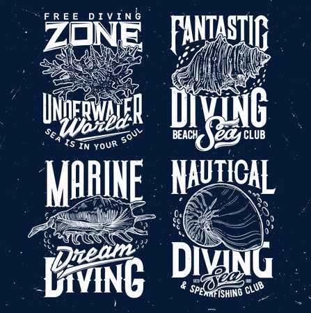 Tshirt print with sketch sea shells and corals for apparel design. vector labels with conch and typography. Engraved t shirt prints or emblem for marine diving club or nautical sport team isolated set Ilustração