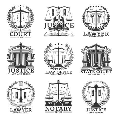 Justice icons, lawyer or notary service office and law court vector emblems. Legislation, jurisprudence and legal department signs of justice scales, judge and law book with courtroom gavel and laurel