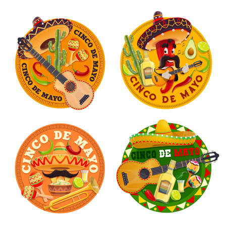 Cinco de Mayo vector design of Mexican holiday chilli character, fiesta party sombrero hats, maracas and guitars. Red peppers, tequila and cactuses, avocado guacamole and corn tortilla nachos