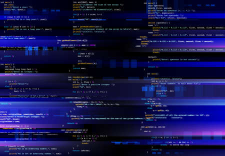 Glitching computer screen, glitch programming code. Virtual environment, program function failure and data loss, critical code mistake, hacker attack or hardware malfunction concept vector background Ilustração