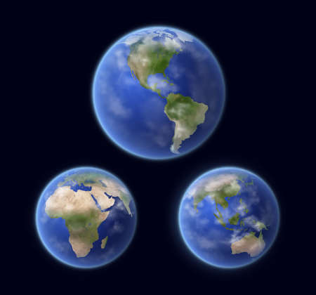 Planet Earth globe surface outer space view, realistic vector. Earth oceans water and continents, atmosphere clouds, Africa, Europe, North and South America, Asia and Australia regions satellite view