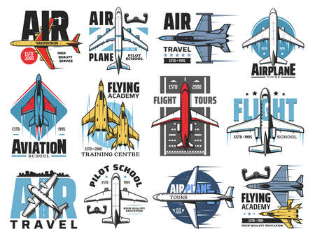 Airplane pilot school, avaiation vector icons set. Air transportation service, flight travel tours emblem or badge. Civil and military airplanes, army jet fighter and passenger airliner